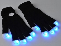 Zwarte handschoen met licht (per paar)
