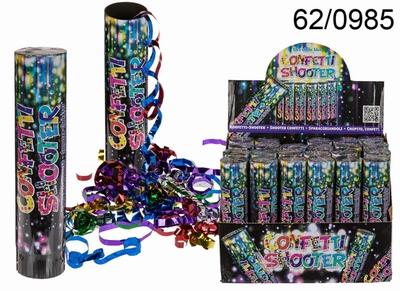 Confetti Shooter 20 cm met metallic gekleurde slierten