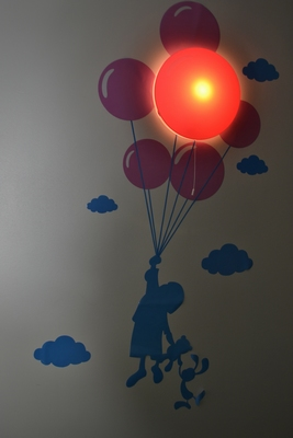 LED Lamp met Muursticker Kind met Ballon