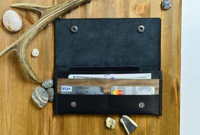 Zwarte Luxe portefeuille van echt leer met houten insert