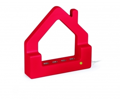 USB Hub Huis Rood
