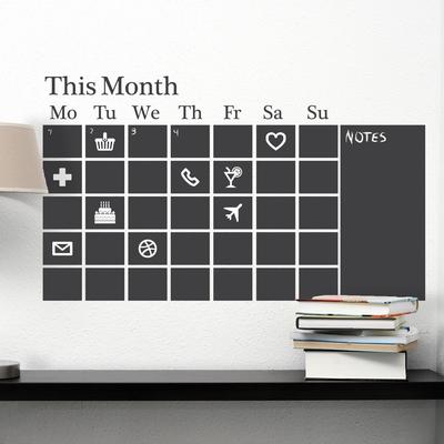 Muursticker - Krijtbord Kalender Zwart