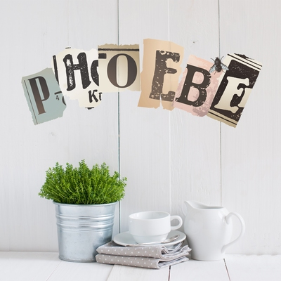 Wall Mural - Vintage Newspaper Cutouts Uppercase