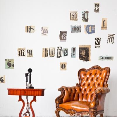 Wall Mural - Vintage Newspaper Cutouts - Lowercase