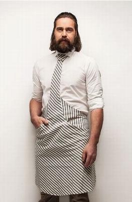 Stropdas Schort Chef Blauw/Wit gestreept