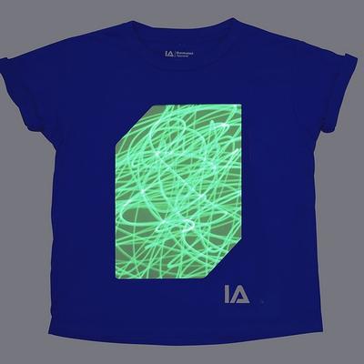 Blauw Shirt met Groene Glow in Kindermaten 104-152