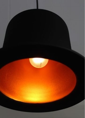 Hoge Hoed Hanglamp - Zwart Goudkleur Folie