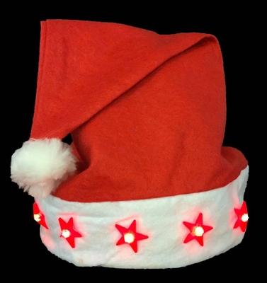 Kerstmuts met 5 looplicht sterren