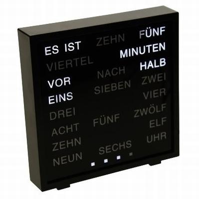 LED Woord Klok - Duits 17x16.5 cm