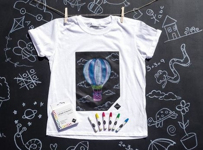 Krijtbord T-shirt Wit in kindermaten 104-152