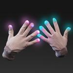 Witte handschoenen met gekleurd licht