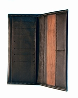Luxe portefeuille van echt leer met houten insert