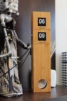 Bamboe Retro Flip Down Klok met Pendulum