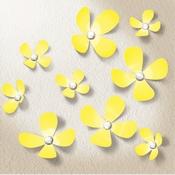 3D Sticker Bloemen Geel met 9 Swarovski Kristallen