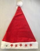 Luxe kerstmuts met 5 looplicht sterren